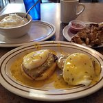 Eggs Benedict with Grits and Potatoes