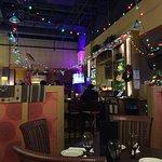 Holiday decorations at the bar