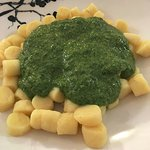 Homemade gnocchi with pesto