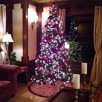 The living room decorated for the holidays.