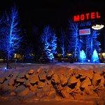 Vue hivernale du motel