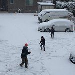 View from room 202 - family having a snow ball fight!