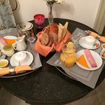 A delicious breakfast in our room!