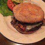 Blue suede burger - bacon cheeseburger with caramelized onions and peanut butter
