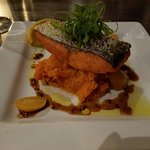 Cedar plank grilled salmon with sweet potato mash