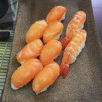 Fresh salmon and ebi