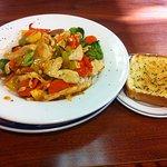 Pineapple Chicken Stir Fry with Garlic Toast