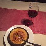 Cream brûlée with rhubarb...to die for.