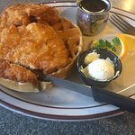 Chicken and waffle breakfast