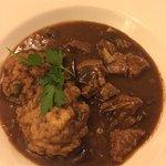 Beef, mushroom and dumpling stew