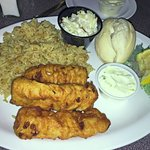 3-piece Fish Fry with Rice Pilaf, Coleslaw, bun
