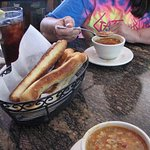 Soup and breadsticks