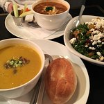 Lentil & Squash | Chicken & black bean soup | kale & veg salad