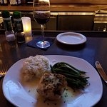 Swordfish with jasmine rice and string beans.