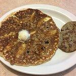 apple cinnamon granola pancake with sausage patties
