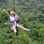 obviously enjoying the zipline!