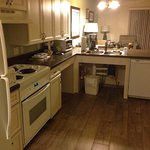 A fully stocked kitchen, includes full-size refrig, stove and microwave - and coffeemaker