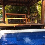 The pool and spa bbq area is a few steps from your room. Tranquility is the first impression I f