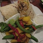 Grilled chicken wrapwith steamed veggies