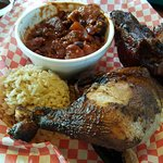 Brown rice, beans, ribs and chicken