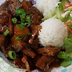 Sweet Sour Ribs - You get salad and rice with every plate.