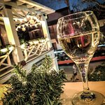 Wine-ing down with Christmas lights and watching trolleys go by.