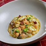 Orzo pasta cooked like risotto with scallops, shrimp and calamari