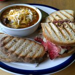 Reuben with a side of smoked meat chilli. The chilli's more like a stew though.
