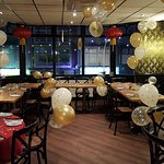 Blossom Banquet Room set for Christmas party