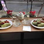 Vegan Lunch with Falafel Wrap & Chai Latte at The Terrace in Penzance UK