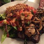 8oz New York Steak w/ Sauteed Prawns and Mushrooms