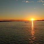 Por do sol no São Francisco durante a travessia entre a Ilha do Rodeador e Petrolina.