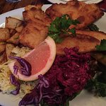 Menu, day of the week menu specials, chicken schnitzel dinner, Christmas  Decor with no room for