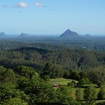 View of the Glasshouse Mountains from Braeside B&B