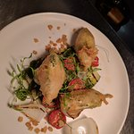 Zucchini flowers and pork belly entrees