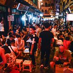 Jammed pack locals and Tourists - food and drink aplenty at very affordable prices
