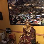 The tara that watches over you and a panorama image of Namche Bazaar with Tamserku Peak.