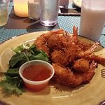 Coconut shrimp and coconut cocktail.  Excellent! and very friendly.