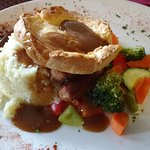 Butcher's Sausages with Yorkshire Pudding and vegetables