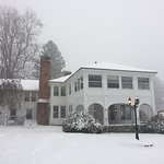 The Inn's main house from the west side in snowfall Dec '16