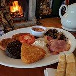 Full Irish breakfast by the fire