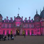 Waddesdon Manor with the lights going on