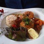 poulet farci, risotto et carottes