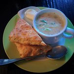 Corn Chowder and Biscuit