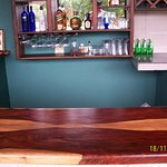 cocobola wood bar top and chairs