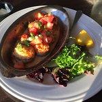 Crab-stuffed mushrooms, grouper on spinach salad, blueberry cobbler a la mode