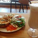 Tasty frittata & salad, creamy iced Chai
