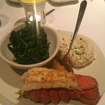 Cold Water Lobster Tail with Garlic Whipped Potatoes and Sauteed Spiniach