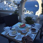 Our daily breakfast spread - that view!