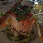 Crab Tower containing prawns and topped with a slither of smoked salmon.